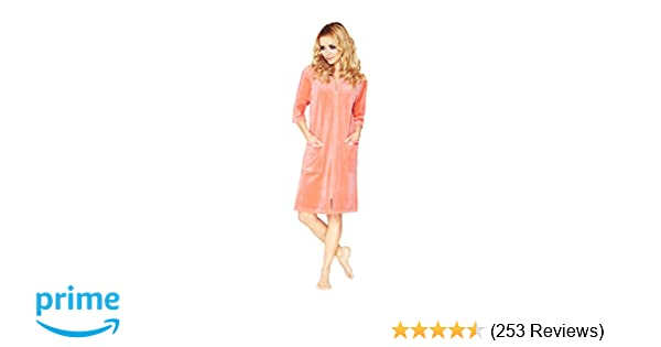 Women s Luxury Soft Cotton Bath Robe Housecoat Dressing Gown Dress Style  Velour Bathrobe Zip Up 3877a8df1