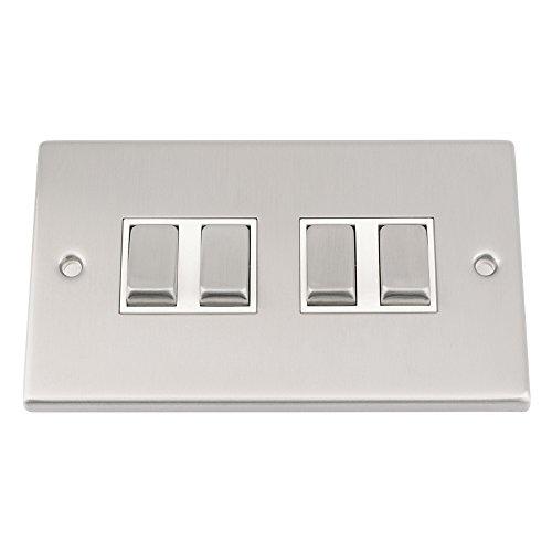 Lichtschalter 4GANG-Satin Chrom matt quadratisch, weiß einfügen-Metall-Kippschalter-10Amp 4Gang 2Wege -