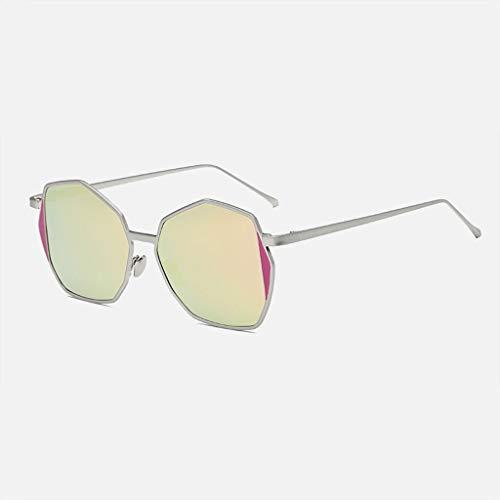 MWPO Polarisierte Sonnenbrille unregelmäßige Polygonmetallmänner und -Frauen im Freien schützende treibende Gläser. (Farbe: Silberrahmen rosa Linse)