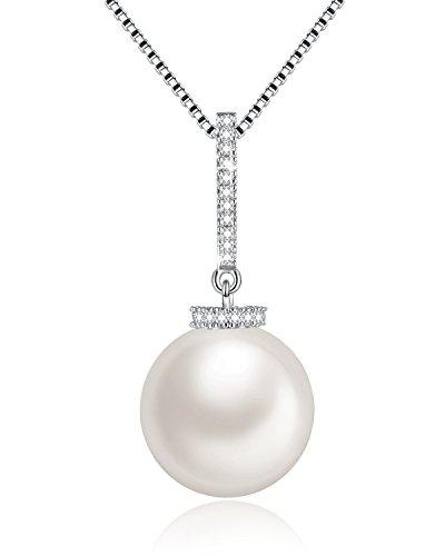Klassischer Damen Perlen Kette mit Swarovski® Kristallen Anhänger Weiß Süßwasser Zuchtperlen Halskette Schmuck, Einfach aber Elegant, Geschenkverpackung, Geburtstagsgeschenke für Frauen Mama, 46CM