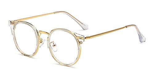 KINDOYO Herren Damen Klassische Nerdbrille Rund Metall Rahmen Vintage Look Clear Lens Brillen,...