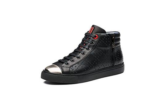 OPP Hommes Mode Chaussures de Travail Side Zip Sneaker Hautes (45EU, Noir)