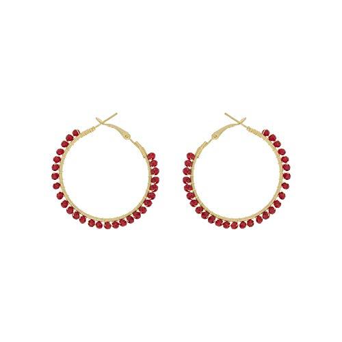 05655fac173e SAVILE orecchini donna a cerchio e biglie rosa in Argento 925 ricoperto in  Oro 18K
