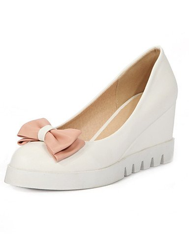 WSS 2016 Chaussures Femme-Bureau & Travail / Habillé / Décontracté-Bleu / Rose / Blanc-Talon Compensé-Compensées-Talons-Similicuir pink-us5.5 / eu36 / uk3.5 / cn35