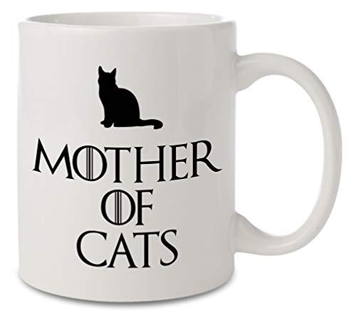 Taza de cerámica Mother of cats``Madre de Gatos´´, color blanco