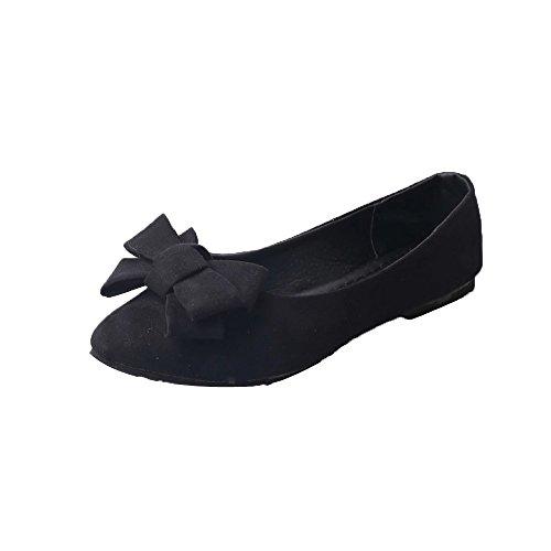 Hunpta Sommer Frauen Flats Schuhe Damen Casual Flat Loafers Slips Damenschuhe Schwarz