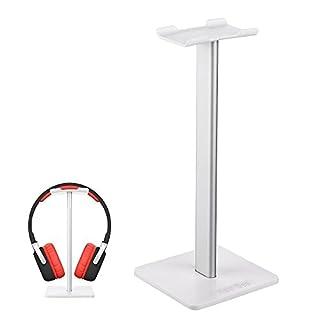 Auledio Headphone Stand, Universal Aluminum Headphone Holder Gaming Headset Display Hanger for Desk Organizer - White