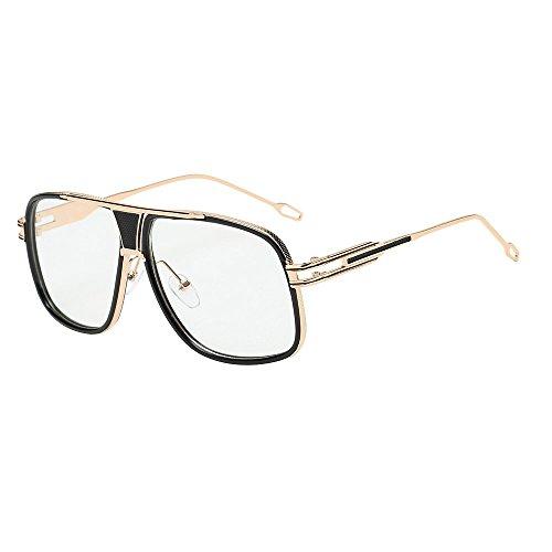 YEZIJIN Klassische Sonnenbrille für Damen und Herren, Quadrate Metallrahmen Free Size F