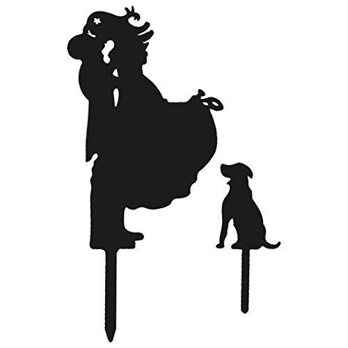 sourcingmap® Hochzeit Acryl DIY Braut Bräutigam und Hund Dekor Kuchen Topper Schwarz 2 in 1
