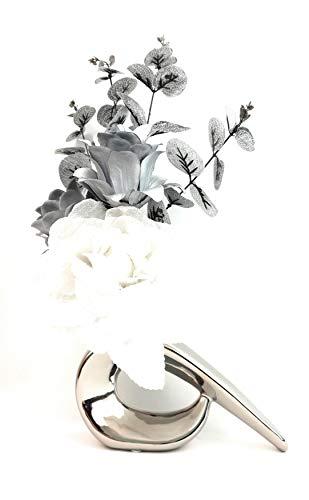 SIMPLY GIFTS Jarrón Seda Artificial Purpurina Blanca