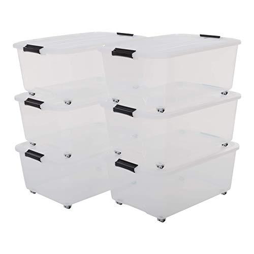 Iris, Aufbewahrungsbox 6er-Set 'Top Box Roller', TBR-40, Transparent, Kunststoff, 57 x 39 x 24,2 cm (Iris Rollen)