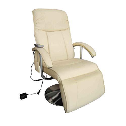 Vislone Elektrischer Massagesessel Kunstleder Relaxsessel Fernsehsessel TV Sessel mit 10 Massageknoten und Wärmemassage,Rücken und Fußstütze verstellbar, Weiß