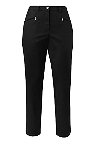 Ulla Popken Damen große Größen bis 64 | Hose Mony | Gerades Bein & Stretch-Komfort | Reißverschluss-Taschen, elastischer Bund & Baumwolle | schwarz 48 624655
