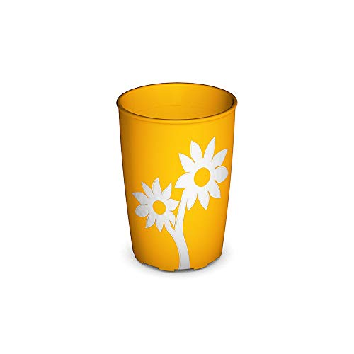Ornamin Becher mit Anti-Rutsch Blume 220 ml gelb/weiß (Modell 820) / Trinkbecher, Pflege-Becher, Kinderbecher