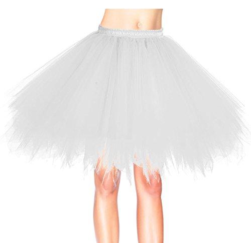 Vintage Weiße Tüll (Dresstells 50er Vintage Petticoat Winter Falten Rock Tüllrock Kurz Ballett Tanzkleid Abendkleid Gelegenheit Zubehör White XL)