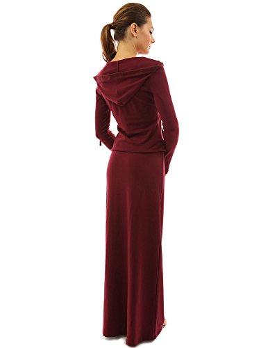 PattyBoutik femmes robe blouson maxi à capuche avec poche Bordeaux