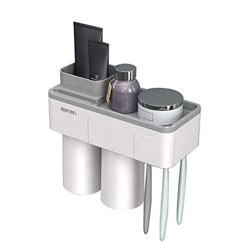 Percetey zahnbürstenhalter Magnetischer,zahnbürstenhalter elektrische zahnbürste,Zahnpasta-Aufbewahrungsset mit staubdichter Abdeckung, umgedreht, ohne Bohrer abtropfen Lassen