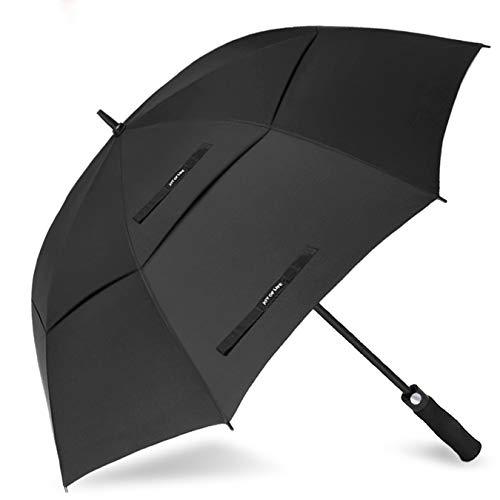 ZOMAKE Automatisches Öffnen Golf Regenschirm 172,7 cm Oversize Extra Groß Double Canopy belüftet Winddicht wasserdicht Stick Schirme(Schwarz)