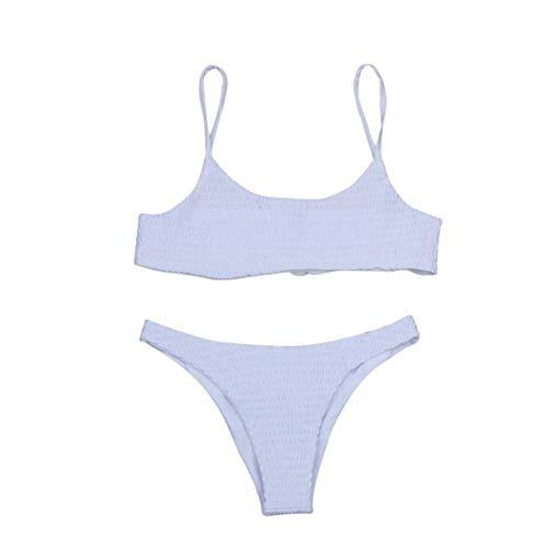 Go first Womens Badeanzug 2 Stück brasilianischen Bikini Set hoch geschnittenen Badeanzüge Bademode Beachwear (Farbe : Weiß, Größe : US Size XXS = Tag S) -