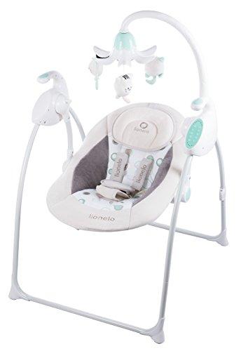 Lionelo Robin Baby Wippe, Babyschaukel Elektrisch mit Liegefunktion, Baby Schaukel 0-9kg, Moskitonetz, 12 Melodien (Beige/Grün)