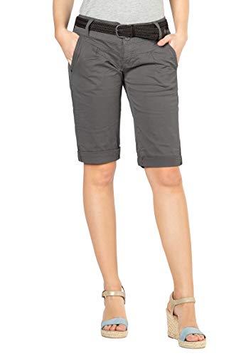 Fresh Made Damen Bermuda-Shorts im Chino Style | Elegante Kurze Hose mit Flechtgürtel Middle-Grey S