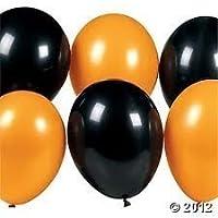 Pack of 15 Assorted Black & Orange Latex Balloons. Halloween Decorations