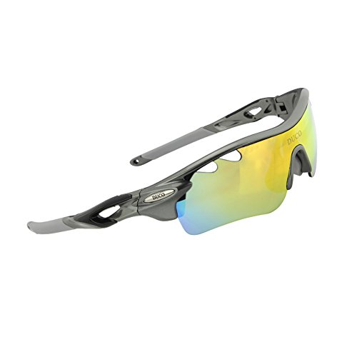 Duco POLARIZED Sports Sunglasses Cycling Glasses With 5 Interchangeable Lenses 0025 Gunmetal