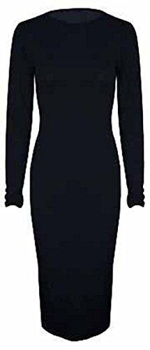 New Jersey Stretch à manches longues col rond pour femme Robe Midi Bodycon 44–54 Noir - Noir