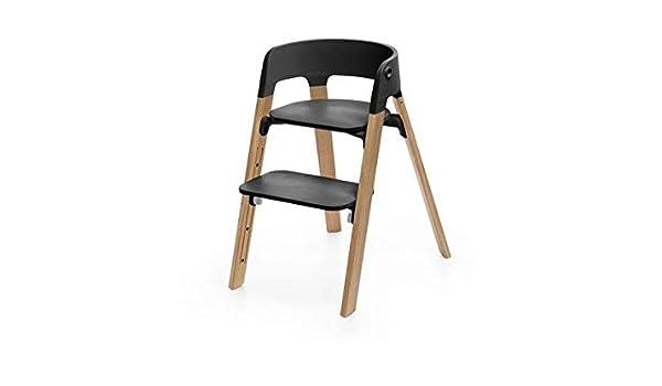 Stokke Chaise Steps Assise Noire Pieds en Bois de Chene