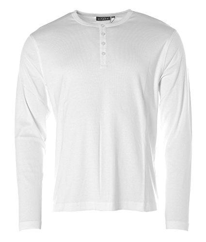 Kitaro Herren Langarm Shirt Rundhals mit Knopfleiste Weiß