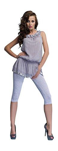 Damen Zugeschnitten 3/4 Baumwolle Classic Leggings Basic Einfarbig Capri Hose (Premium-basic-hose)