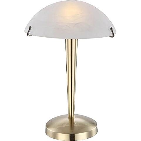 Di alta qualità LED lampada da tavolo in ottone opaco vetro effetto alabastro bianco 5W–Globo 21411