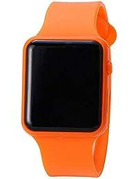 Reloj de pulsera para estudiantes, correa de silicona, reloj deportivo, pantalla LED, reloj de pulsera deportivo, informal, reloj de pulsera para niños y niñas, color naranja (batería incluida)