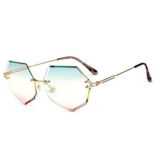 Yiph-Sunglass Sonnenbrillen Mode Niet Dekoration Frameless Style Damen Sonnenbrille Farbige Linse UV400 Schutz Fahren Laufen Angeln Golf (Farbe : C3)