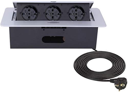 Versenkbare Einbausteckdose 3-fach - Aluminium Spritzguss - mit Softöffnung - anschlussfertig mit 3m Schukokabel -