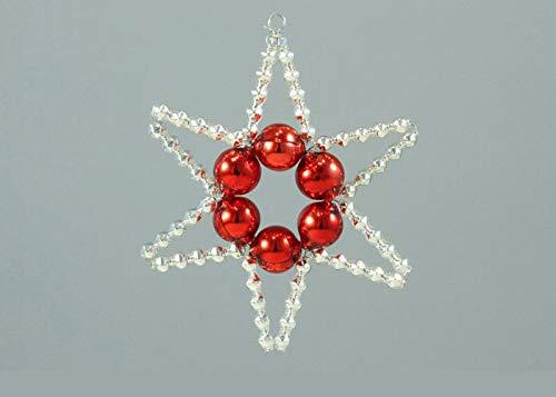 Silber Rot Einfache Sterne-Tschechische böhmische Weihnachten, Baum, Geschenk, Ornamente, Glasperlen Projekt Handmade Hobby-DIY-Kit-Set 65mm