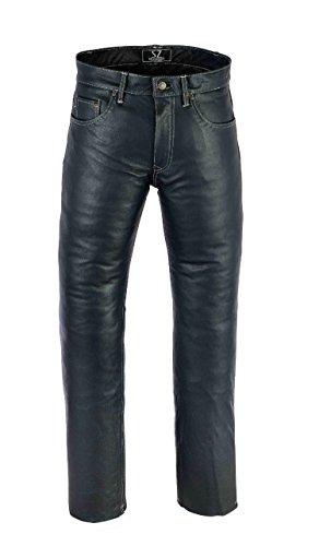 Shamzee Lederhose Leder Jeans Hose aus Nappa Leder Echtleder in Schwarz Farbe