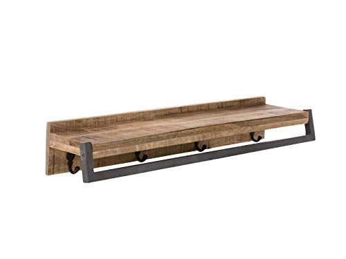 Woodkings® Bad Wandregal Pune Holz Natur rustikal massiv mit Handtuchhalter Badmöbel Regal Badezimmer Badezimmerschrank Wandschrank Wandregal