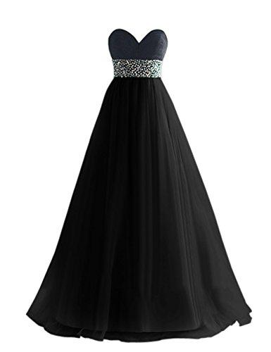 Dresstells, Robe de soirée de mariage/cérémonie/demoiselle d'honneur en tulle bustier en cœur pailletée Noir