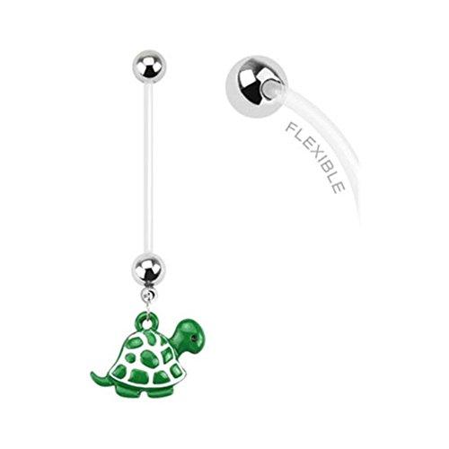 Belly Button Schwangerschaft Ringe (Lange Flexible Bioplast Schwangerschaft Bauch Ring mit Dangling Schildkröte)