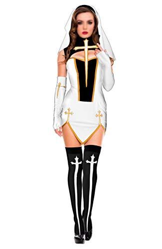 Klassische Erwachsene Kostüm Nonne Für - GHDTGS Kostüm Für Erwachsene Halloween Horror Erwachsene Nonnen Priester Kleidung Missionar Kostüme Unregelmäßigen Langen Rock Zombie Klassische Maskerade Rave Party,H-M
