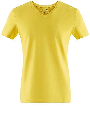 oodji Ultra Herren Tagless T-Shirt Basic mit V-Ausschnitt Gelb (5100N)
