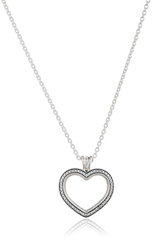 Pandora Stories Floating Heart Damen Medaillon mit Halskette 925 Sterlingsilber 60 cm