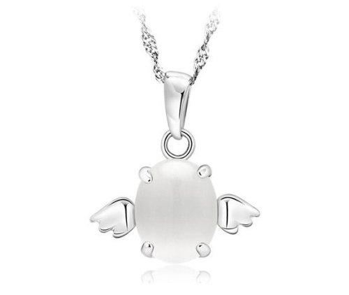 Wonvin Mädchens Weihnachtsgeschenk Engel Ei Weiß Augen Katze Mondstein Engel Anhänger Halskette