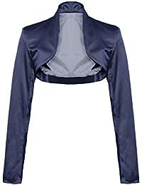 Eleganter Langarm Satin Bolero Jacke 34 36 38 40 42 44 in mehreren Farben