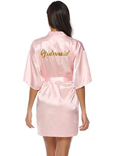 Baumwolle Satin Robe (Abollria Damen Morgenmantel Satin Kimono Kurz Braut Robe Hochzeits Roben V Ausschnitt Bademantel Brautjungfer Brautdusche Damen Geschenk Wellness Junggesellenabschied)