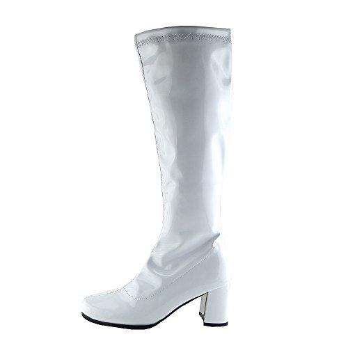 Knie Hoch Hoch Block Ferse Lange Stiefel - UK 5/EU 38, Weiß (Weiße Gogo-stiefel Größe 5)