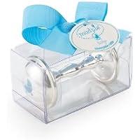 Mud Pie Baby Boy Silver-Plate Rattle, Blue