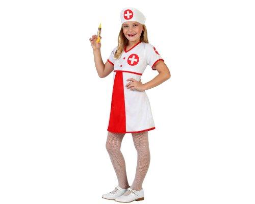 Atosa 23864 - Krankenschwester Mädchen Kostüm, Größe 104, weiß/rot (Krankenschwester Mädchen Kostüme)