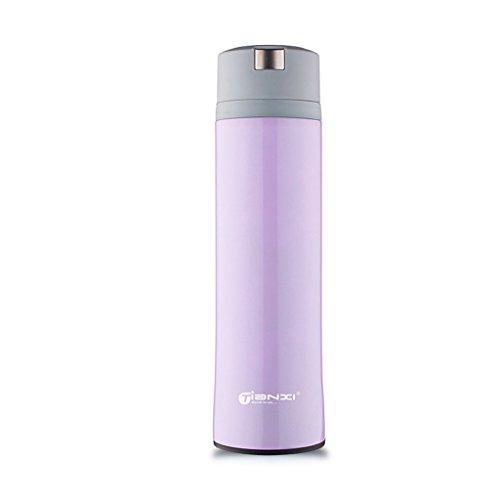 SINCERE@ Tasse portable voiture ventouse en acier inoxydable chaud étudiant masculin Mme tasse créative haut de gamme (fleur Run-violet)